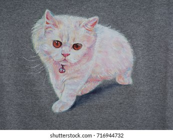 British Shorthair Kitten On White Backgroundacrylic Painting Fabric