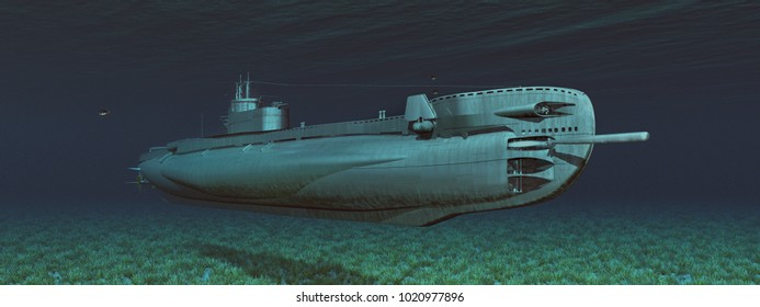 British submarine of World War II Computer generated 3D illustration