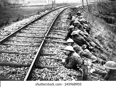 British WWI troops defending the railway line. Melville, France, during the German Spring offensive in the Ypres Salient. April 11, 1918.