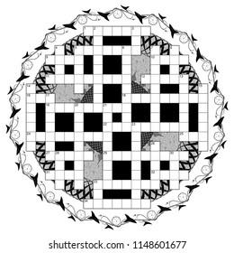 British-style crossword puzzle template for 34 numbers or 36 words against round floral background. Black and white illustration.