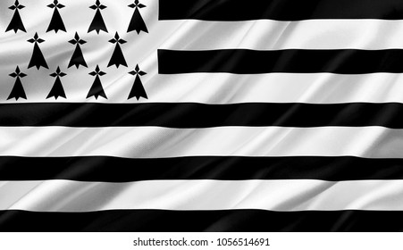 Brittany flag waving with the wind, 3D illustration.