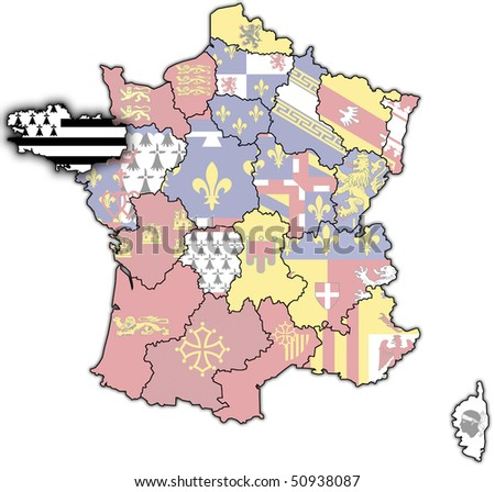Brittany On Map Of France.Brittany On Old Map France Flags Stock Illustration Royalty Free