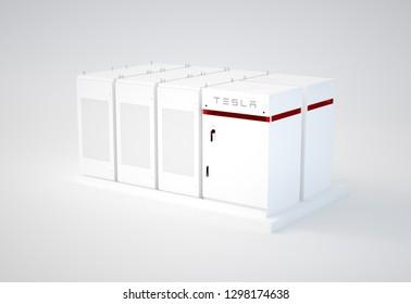 BRNO, CZECH REPUBLIC - JANUARY 29. 3d illustration of a Tesla powerpack 2 backup battery renewable energy storage system.