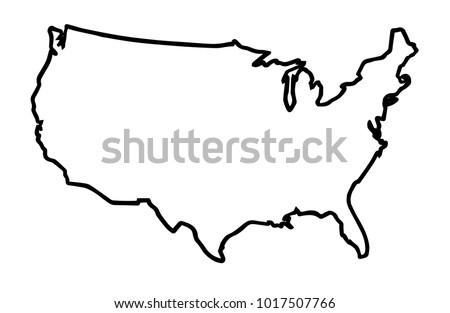 Broader Outline Map United States America Stock Illustration ...
