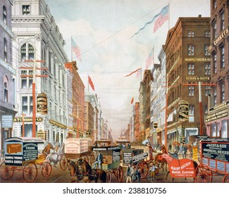 Broadway in New York City, New York's dry goods district, horse-drawn wagons, street railroads, and buildings, many displaying advertisements for businesses and goods. lithograph, 1886.