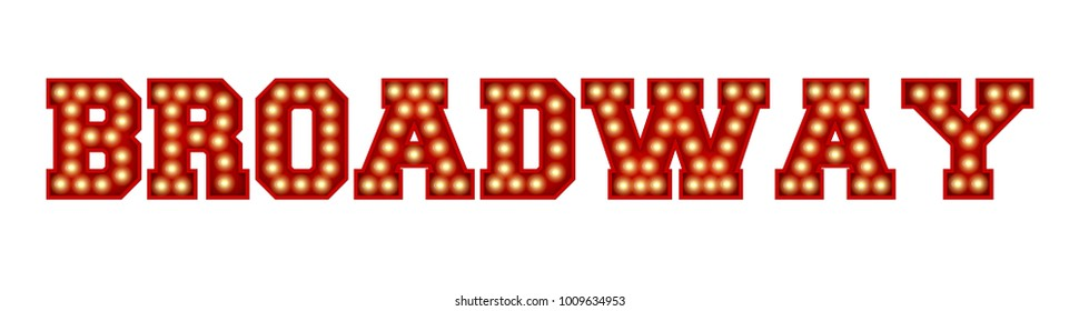 Broadway word made from red vintage lightbulb lettering isolated on a white. 3D Rendering