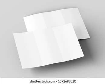 Brochure in A4 format folded to three - mockup. 3d illustration