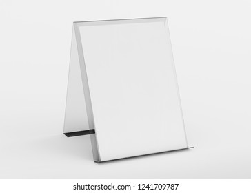 Brochure display stand mockup isolated on white background 3d rendering