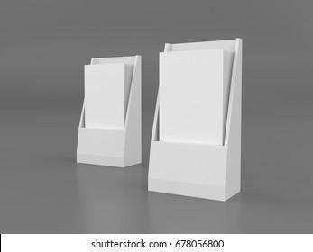 brochure flyer box template on black. 3D rendering