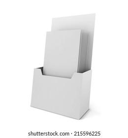 Brochure holder. 3d illustration isolated on white background