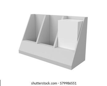 Brochure leaflet holder template mock-up. 3D rendering