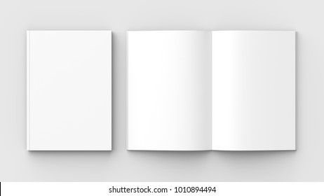 Brochure, magazine, book or catalog mock up isolated on soft gray background. 3D illustrating