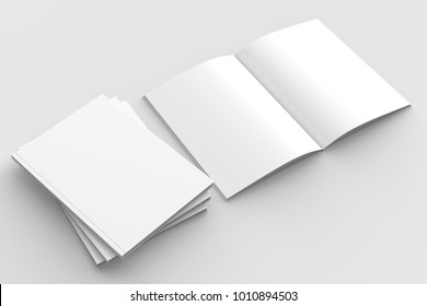 Brochure, magazine, book or catalog mock up isolated on soft gray background. 3D illustrating