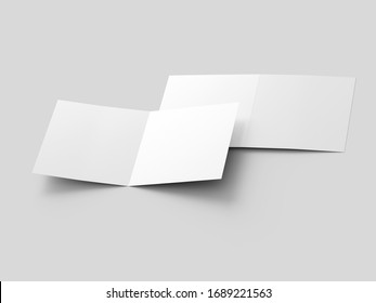 Brochure in square format folded to two - mockup. 3d illustration