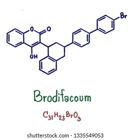 Brodifacoum is a highly lethal 4-hydroxycoumarin vitamin K antagonist anticoagulant poison. In recent years, it has become one of the world's most widely used pesticides. Illustration