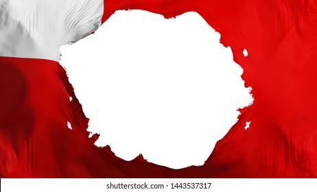 Broken Abudhabi, capital of United Arab Emirates flag, white background, 3d rendering
