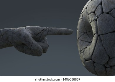 broken arm of a monument points into a hole, 3d illustration