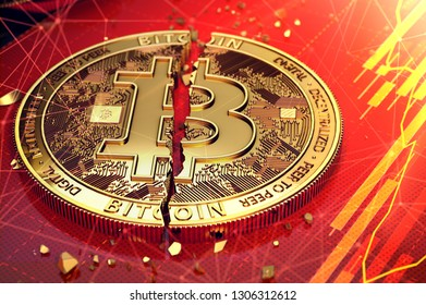 Broken bitcoin split in two pieces laying on a screen. The screen has red diagram. Bitcoin decline concept. 3D rendering