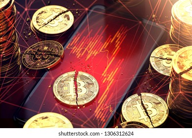 Broken bitcoin split in two pieces laying on a red charts displayed on-screen. Hard times for cryptocurrencies concept. 3D rendering