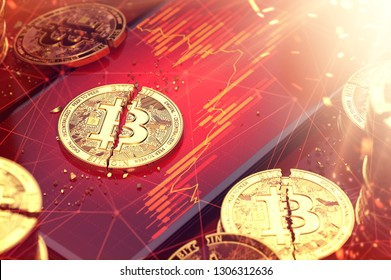 Broken bitcoin split in two pieces laying on a red charts displayed on-screen. Low revenues of cryptocurrencies concept. 3D rendering