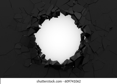 Broken Black Concrete Wall isolated on white background. 3D Rendering