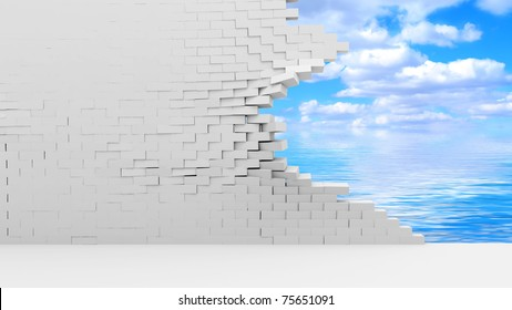 Broken Brick Wall with Beautiful Clouds Behind