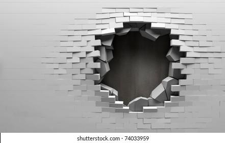 Broken Brick Wall with Metal Plate Behind