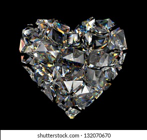 broken brilliant crystal heart isolated on black background