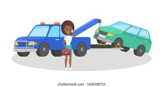 Broken car on the tow truck. Roadside assistance service. Woman calling to the repair service. Flat illustration