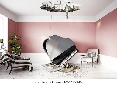 broken ceiling and falling piano. 3d rendering concept