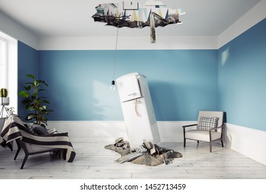 broken ceiling and falling refrigerator. 3d rendering concept