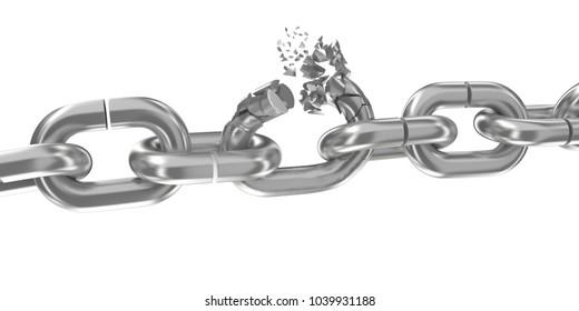 Broken chain on white background 3D render