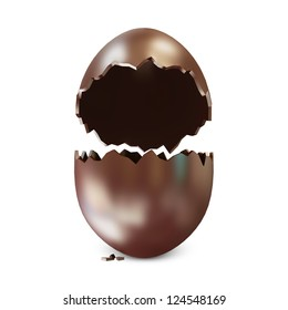 Broken Chocolate Easter Egg isolated on white background