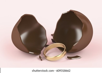 Broken chocolate egg with a surprise, golden engagement ring inside. 3D illustration