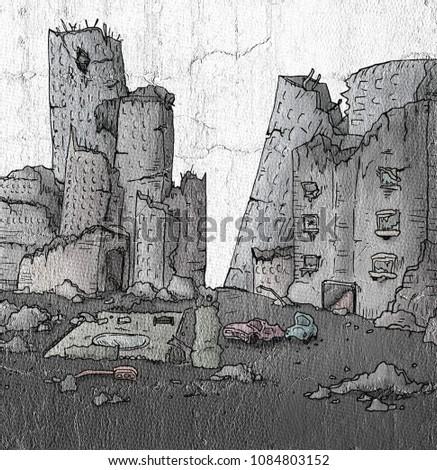 Broken City Draw Stock Illustration 1084803152 Shutterstock