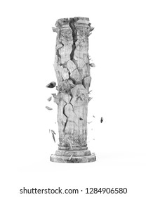 Broken Classic Ancient Column isolated on white background. 3D illustration
