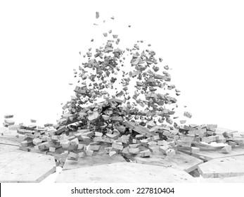 Broken Concrete Floor isolated on white background