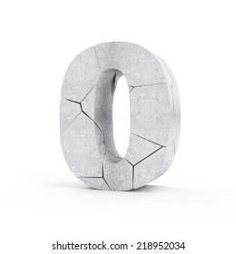 Broken Concrete Numbers isolated on white background (Number 0)