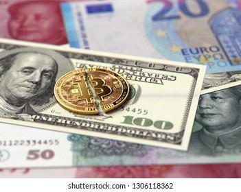 Broken or cracked Bitcoin coin on banknotes. Bitcoin price crash concept. 3D Rendering