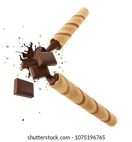 Broken Crispy Wafer Stick with Chocolate bar and Cocoa filled isolated on white background, 3d illustration.
