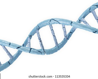 Broken DNA isolated on white background