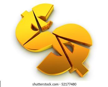 Broken dollar sign. Financial problem concept.
