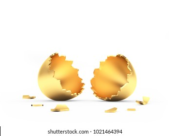 Broken empty golden Easter egg with space for text isolated on white. 3D illustration