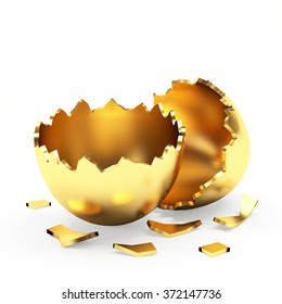 Broken empty golden Easter egg isolated on a white background