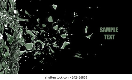 broken glass background isolated on black. High resolution 3d render