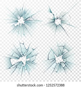 Broken glass. Cracked texture on deforming mirror, smashed windows or damaged car windshield by bullet 3D sharp destruction crash smash ice surface. Realistic repair crack hole isolated  set