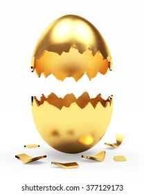 Broken golden Easter egg isolated on a white background