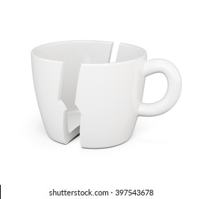 Broken in half a cup isolated on white background. 3d render image.