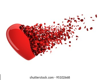 Broken Heart. High quality 3D render of glossy heart transforming into Rose Petals.