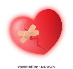 a broken heart with two plasters